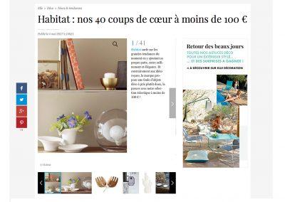 Article magasine Elle sur les vases IBN by Habitat